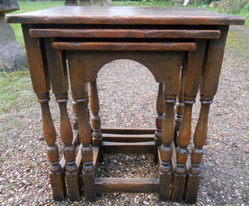 Antique Style Oak Nest of Three Coffee Tables